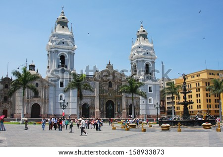 LIMA - FEBRUARY 12: The Cathedral of Lima in Peru on February 12, 2009. Lima is the capital and largest city in Peru. - stock photo