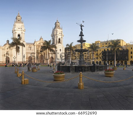 Lima, main square, pool and cathedral church. - stock photo
