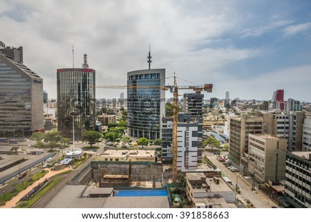 LIMA, PERU - CIRCA 2016: Panoramic view of San Isidro town circa 2016 in Lima, Peru. - stock photo