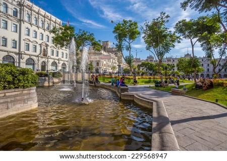 LIMA, PERU - CIRCA 2013: Water pool of San Martin square circa 2013, in Lima, Peru. - stock photo
