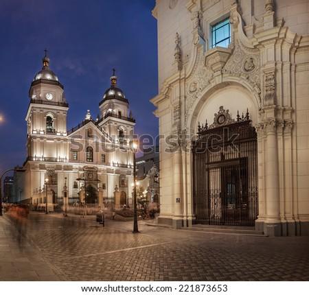 LIMA, PERU: San Pedro church at the evening - stock photo