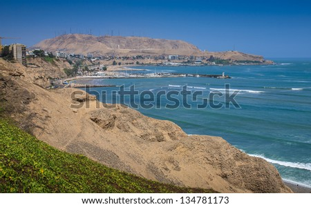 Lima, Peru: view of the costa verde shore - stock photo