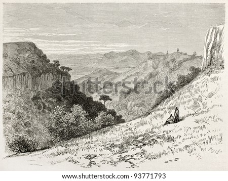 Limadou old view, Abyssinia. Created by Ciceri after Lejean, published on Le Tour du Monde, Paris, 1867 - stock photo
