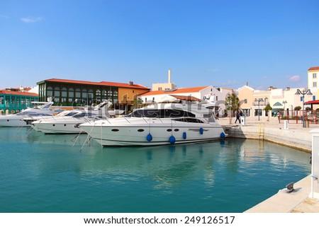 LIMASSOL, CYPRUS - JANUARY 17, 2015: Modern yachts in new luxury Limassol marina - stock photo
