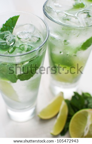 Lime and mint drink - stock photo