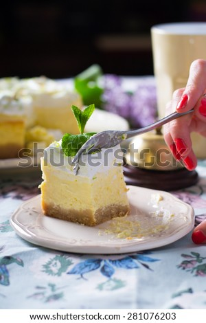 Lime cheesecake with meringue - stock photo