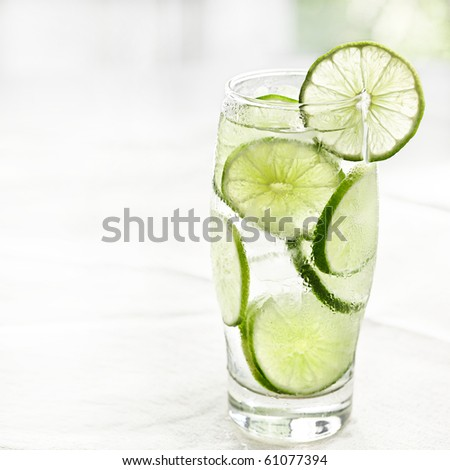 lime drink with ice and copyspace - stock photo