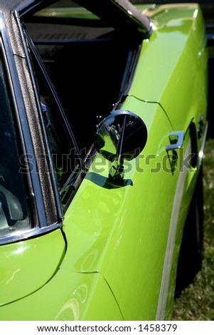 Lime Green Classic Sports Car - stock photo