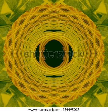Lime green lemon yellow center flower  hole kaleidoscope twist twirl spin detailed pattern design background backdrop gold golden colors - stock photo