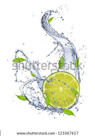 Lime in water splash, isolated on white background - stock photo
