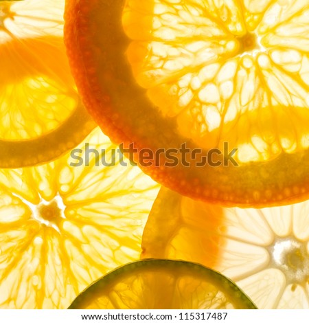 lime, lemon and orange slices - stock photo