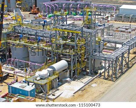Lime process plant with ball mill - stock photo