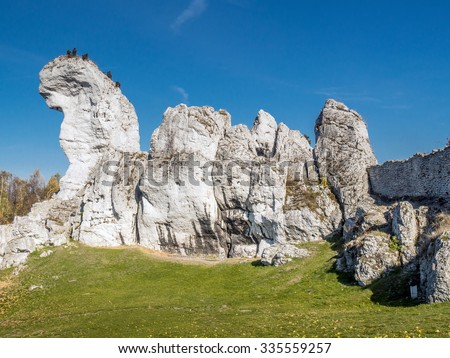 Lime rock outlier formation one of many that can be found in the Krakow-Czestochowa Upland also known as Polish Jurasic Highland, Poland - stock photo