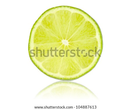 lime slice isolated on white - stock photo