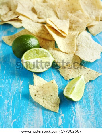 Lime Tortilla Chips. - stock photo