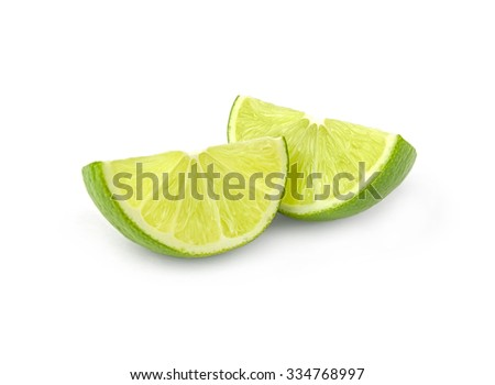 Lime wedges isolated on a white cutout - stock photo