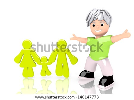 Limerick  abstract child 3d graphic with happy family icon  with cute 3d character - stock photo