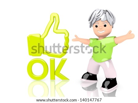 Limerick  funny boy 3d graphic with young ok symbol  with cute 3d character - stock photo