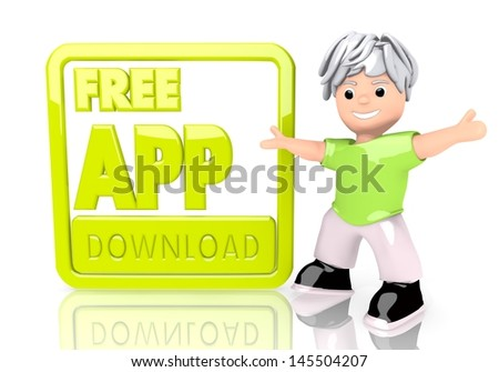 Limerick  funny data 3d graphic with young free app download symbol  with cute 3d character - stock photo