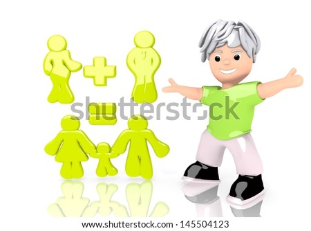 Limerick  happy calculation 3d graphic with symbolic family plan symbol  with cute 3d character - stock photo