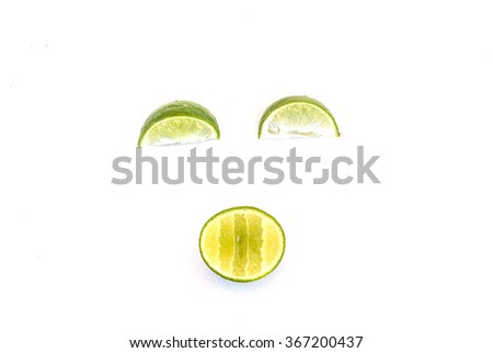 Limes set face smile isolated on white background - stock photo