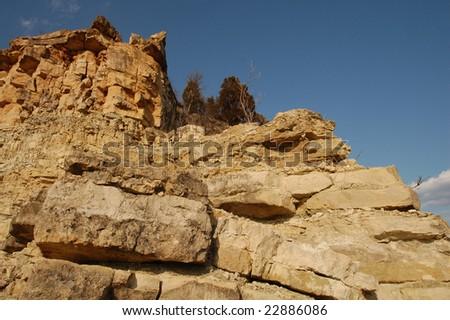 Limestone Bluffs on the Missouri River - stock photo