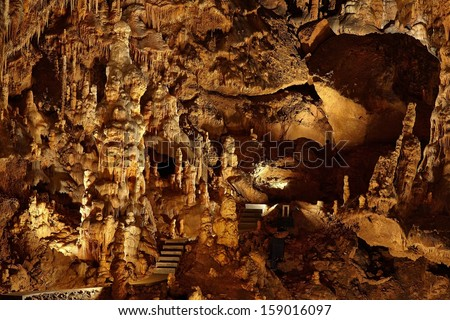 Limestone formations inside a cave - stock photo