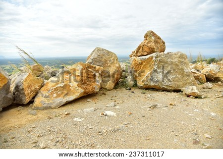 Limestone in the development of rock, Cambodia. - stock photo