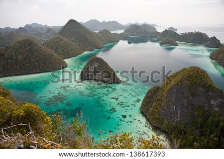 Limestone islands in Raja Ampat, Indonesia, are surrounded by warm, clear waters that support healthy coral reefs.  This region is known for its high marine biological diversity and great diving. - stock photo