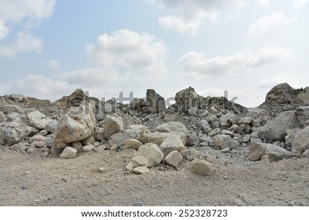Limestone quarry, Cambodia. - stock photo