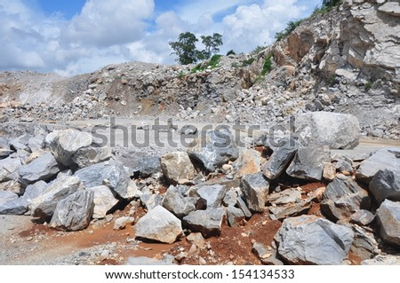 Limestone quarry in Thailand. - stock photo