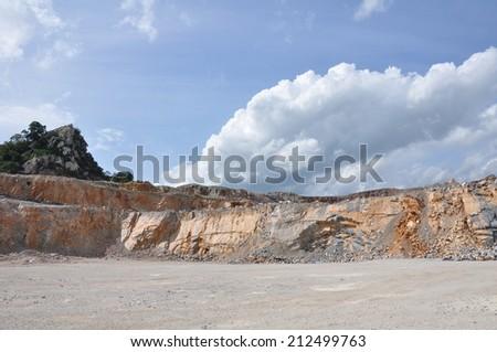 Limestone quarry, mining - stock photo