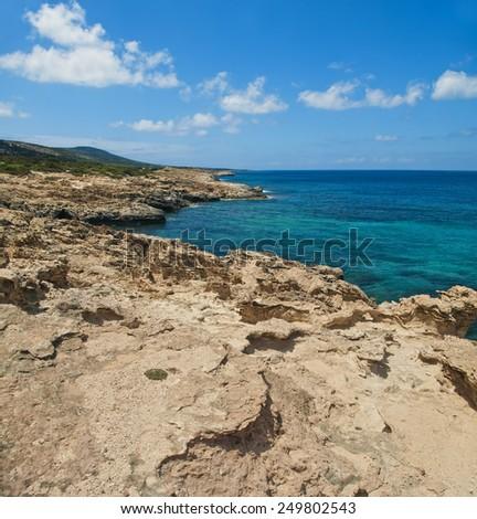 limestone rocks on Akamas Peninsula, Cyprus - stock photo