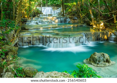 Limestone waterfall in tropical forests ,Thailand - stock photo