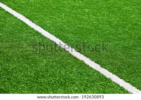 Limit line of a sports grass field for Background. White line. Selective Focus. - stock photo