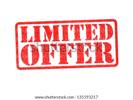 LIMITED OFFER Rubber Stamp over a white background. - stock photo