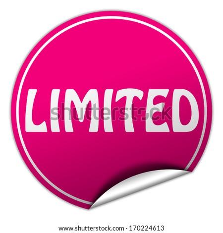 limited pink round sticker on white background - stock photo