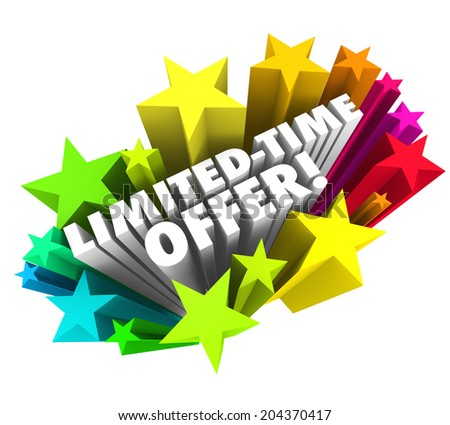 Limited Time Offer words 3d white letters colorful stars advertising a special savings deal - stock photo