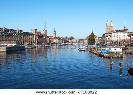 Limmat river and famous churches of Zurich, Switzerland - stock photo