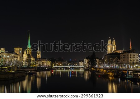 Limmat river with view of church in Zurich in evening, Switzerland - stock photo