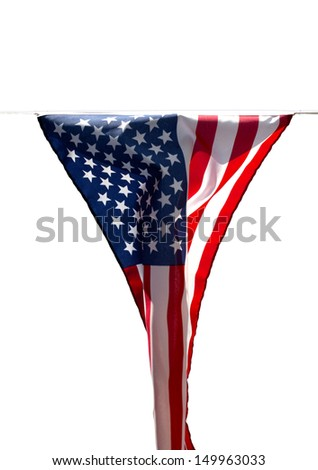 Limp American flag without wind on a white background - stock photo