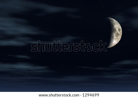 limpid night with a half moon and stars - stock photo