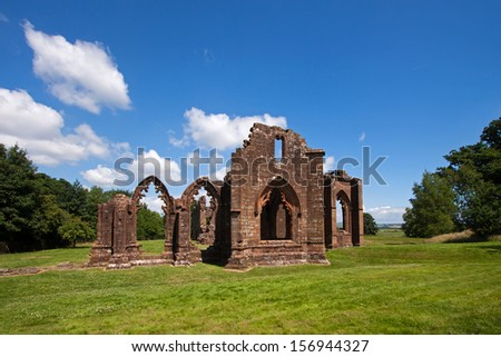 Lincluden is a ruined Collegiate Church on the outskirts of Dumfries, Scotland, founded in 1389 by the Lord of Galloway and abandoned after the 1560 Reformation, with only these ruins remaining today. - stock photo