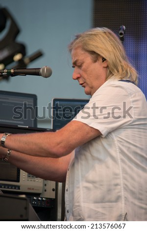 LINCOLN, CA - August 23: Geoff Downes of the band Yes performs at Thunder Valley Casino Resort in Lincoln, California on August 23, 2014 - stock photo