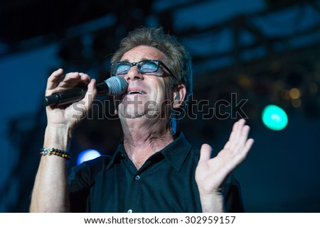 LINCOLN, CA - July 31: Huey Lewis and The News performs at Thunder Valley Casino Resort in in Lincoln, California on July 31, 2015 - stock photo