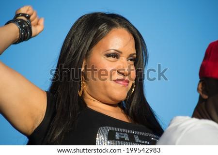 "LINCOLN, CA - June 14: Cheryl ""Salt"" James of Salt N Pepa performs in support of Summer Jam 2014 at Thunder Valley Casino Resort in Lincoln, California on June 14, 2014 - stock photo"