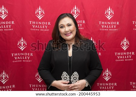 LINCOLN, CA - June 22: Filipino actress and singer Sharon Cuneta poses for meet and greet photos at Thunder Valley Casino Resort in Lincoln, California on June 22, 2014 - stock photo