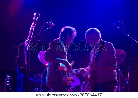 LINCOLN, CA - June 6: Stanley Sheldon (L) performs with Peter Frampton (R) at Thunder Valley Casino Resort in in Lincoln, California on June 6, 2015 - stock photo
