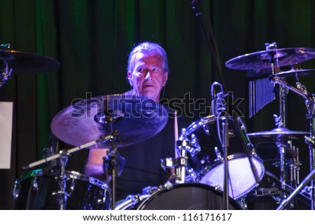 LINCOLN, CA - OCT 19: Monte Yoho of Country rock band The Outlaws perform at Thunder Valley Casino Resort in Lincoln, California on October 19th, 2012 - stock photo