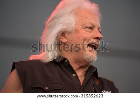 LINCOLN, CA - September 11: Bassist Gary Link of Steppenwolf performs on stage at Thunder Valley Casino Resort in in Lincoln, California on September 11, 2015 - stock photo